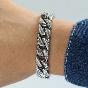 Curb-Cuban-Womens-Mens-Bracelet-Chain-White-Gold-Filled-GF-Iced-Out-Hip-Hop-14mm