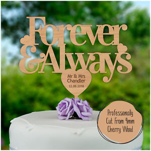 WEDDINGS-Forever-amp-Always-Rustic-Wooden-Personalised-Cake-Topper-Mr-Mrs-Topper