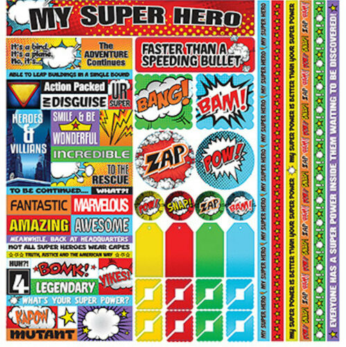 Reminisce MY SUPER HERO 12x12 Cardstock Sticker Sheet scrapbooking