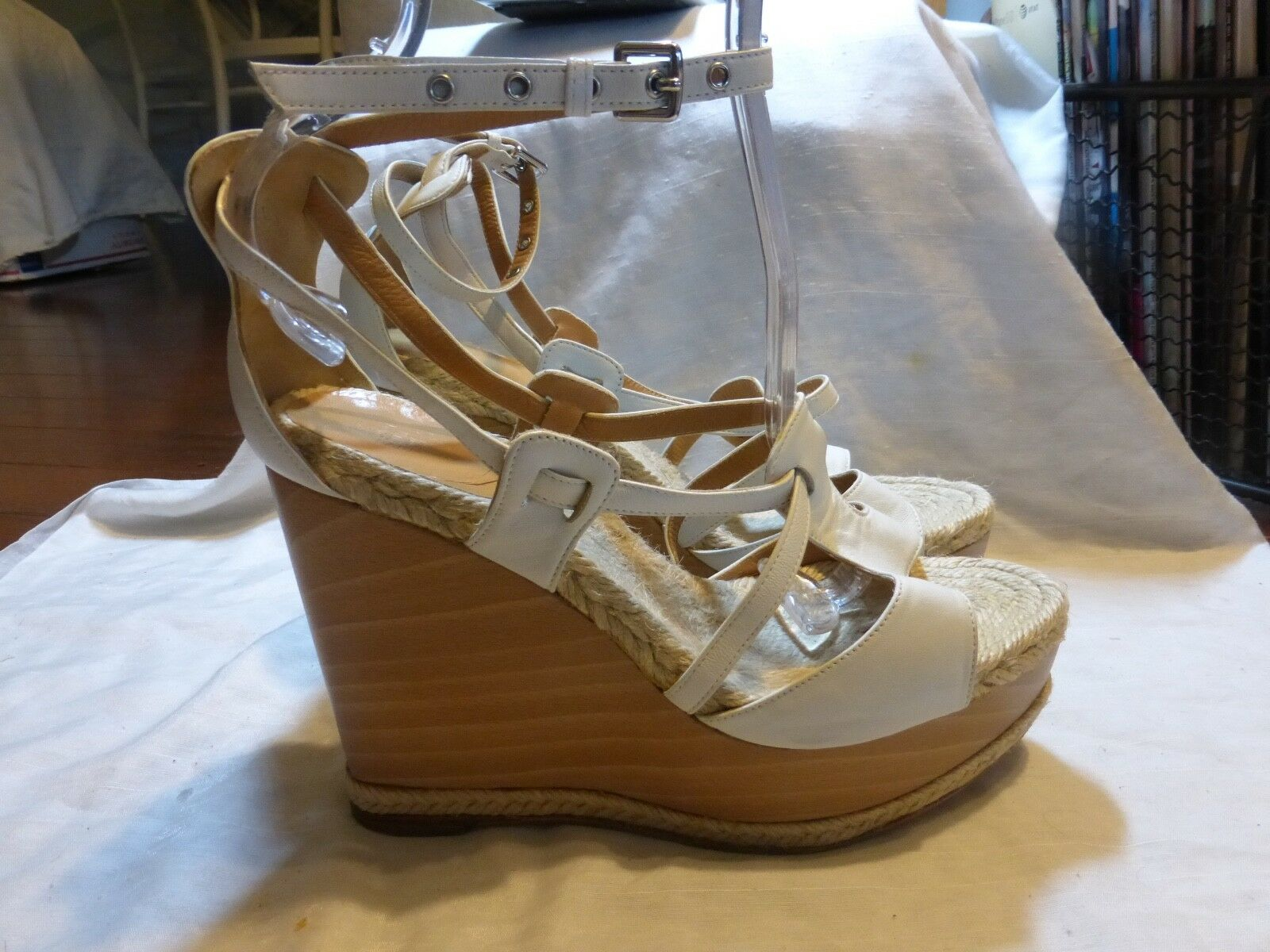 HERMES LEATHER WEDGES PLATFORMS SIZ 39-9  1300 ANKLE STRAP 10.25 L WHITE CLOGS