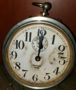 Antique-1918-1935-WESTCLOX-BIG-BEN-034-STYLE-1a-034-Alarm-Clock-Nickel-Finish-RARE