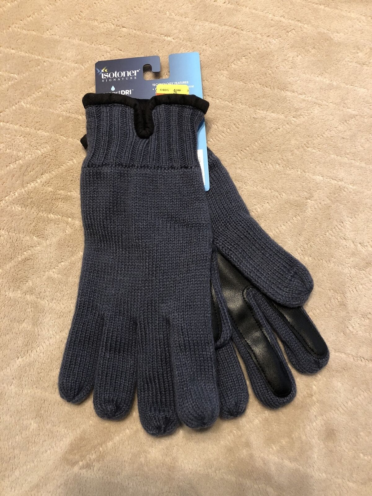 Isotoner SmartDRI SmarTouch Knit Gloves Charcoal Mens One Size New