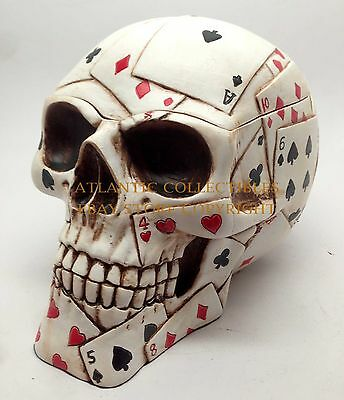 Poker Skull Jewelry Box Ace of Spades Card Faces Statue Figurine Skeleton