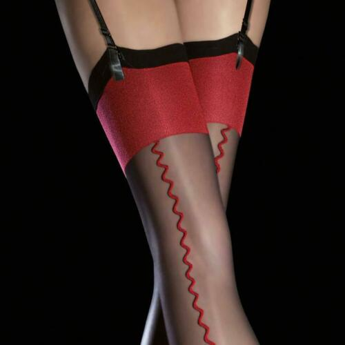 Fiore ANAIS Sensuous Quality Stockings Red Accent Back Seam 20 Denier