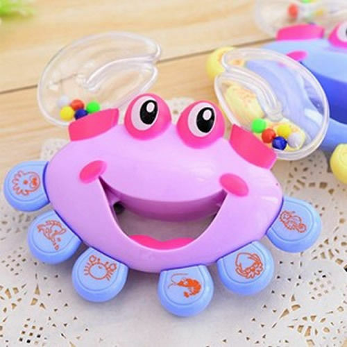 Kids Baby Crab Design Handbell Musical Instrument Jingle Shaking Rattle Toy GS