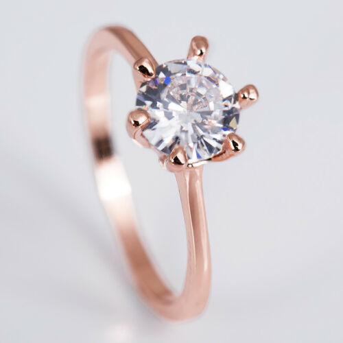 18 K Rose Gold Plated Round Cut White Sapphire Women Wedding Ring Size 6-10