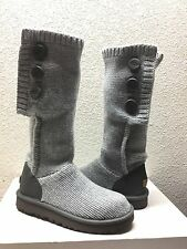 UGG CLASSIC CARDY CASHMERE TALL KNIT HEATHER GREY BOOT sz US 6 / EU 37 / UK 4.5