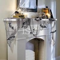 Black 4.6m Gothic Halloween Gauze Draping Sparkle Bats Cutouts Decoration Kit