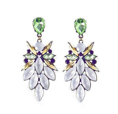 New Arrive Women Fashion Resin Leaf Crystal Drop Statement Dangle Earring Stud