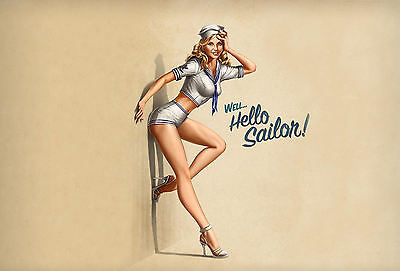 A3 Poster - Sailor Pin Up Woman Leaning on a Wall (Picture Print Art UK US NAVY)