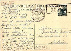 CARTOLINA-AREZZO-SUBBIANO-annullo-speciale-PANETTONE-MOTTA-17-marzo-1950-FIRENZE