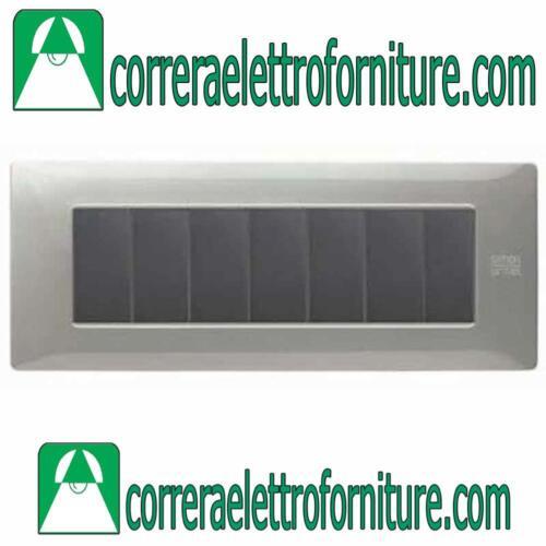 SIMON URMET NEA Placca 7 moduli posti  alluminio 11807.AL
