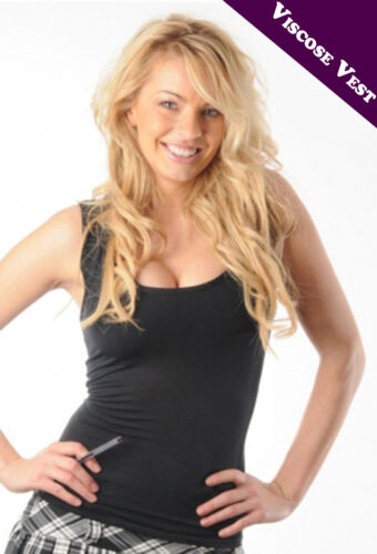 Crazy Chick Black Viscose Women Stretchy Gymnastic//Jogging Vest Top