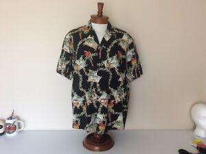 Royal-Creations-VTG-Mens-XL-Hawaiian-Aloha-Shirt-Black-Parrot-Bamboo-Frame-Print