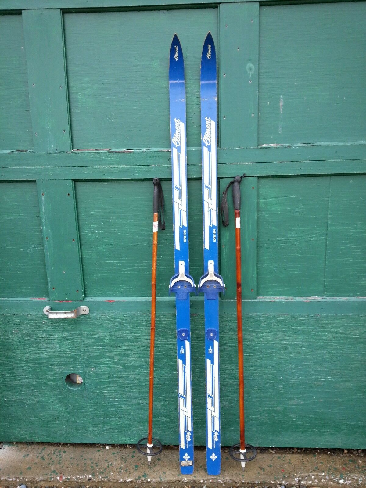 VINTAGE Wooden 66  Skis Has   bluee Finish Signed CLEMENT + Bamboo Poles  luxury brand
