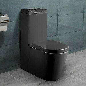 stand wc toilette mit sp lkasten nano beschichtung soft close schwarz a380b ebay. Black Bedroom Furniture Sets. Home Design Ideas