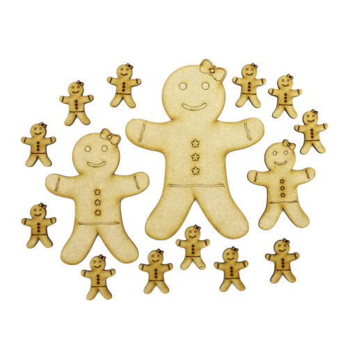 3mm MDF Gingerbread Ladies Mixed Sizes Wood Shapes Holiday Scrapbook Card Craft
