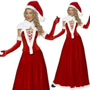 Mrs Santa Claus Deluxe Adult Womens Christmas Day Fancy Dress Costume Outfit