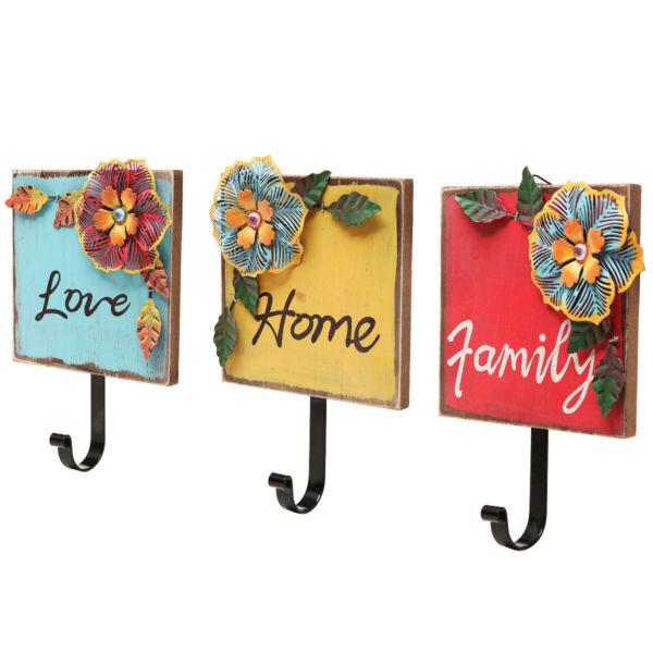 """family, Home, Love"" Wood & Metal Tropical Flowers Wall Coat / Key Hooks"