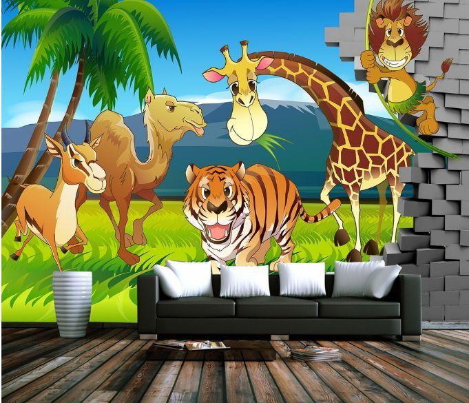 3D Coconut Tree Animals Paper Wall Print Decal Wall Wall Murals AJ WALLPAPER GB