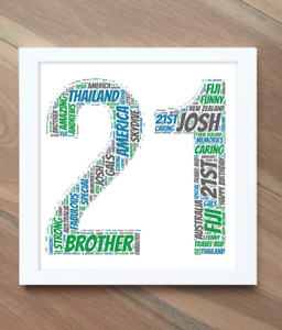 21st word cloud Birthday word art Personalised 21st birthday picture