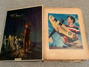 Vintage-WWII-era-50-page-SCRAPBOOK-Clippings-planes-Military-PATRIOTIC-Rockwell