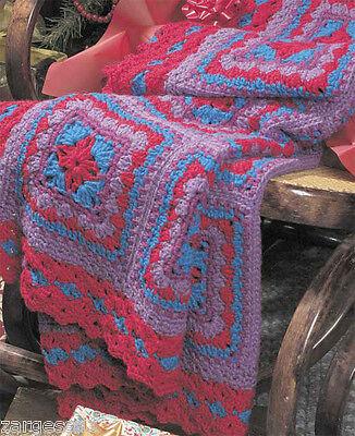 Lovely  Multi Coloured Crochet Afghan- Crochet Pattern - 4Ply wool needed