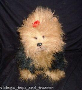 13-034-VINTAGE-TY-1990-PUPPY-DOG-YORKIE-YORKSHIRE-FUZZY-STUFFED-ANIMAL-PLUSH-TOY