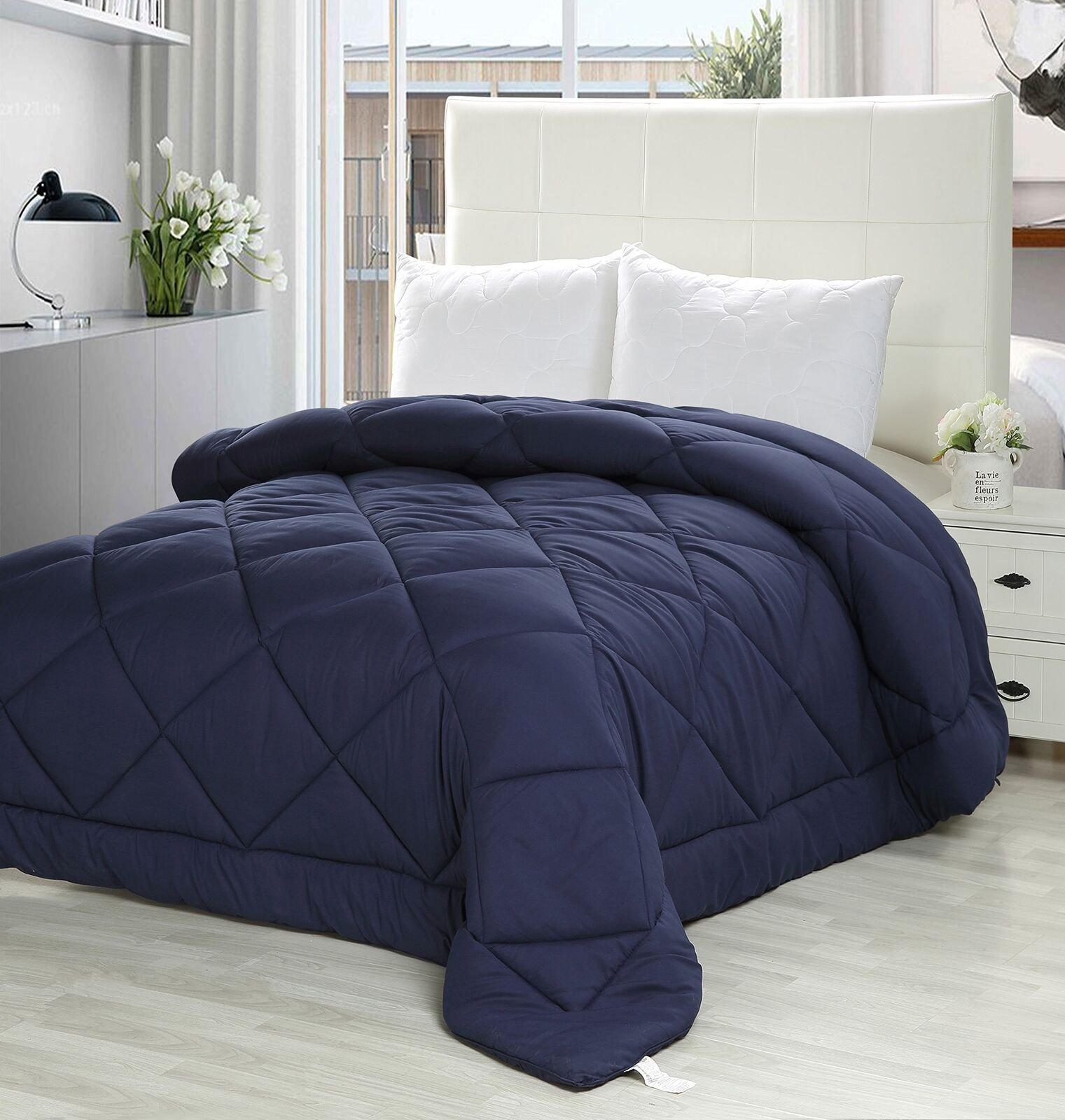 Queen Comforter Duvet Insert Navy - Quilted Comforter with Corner Tabs - Plush