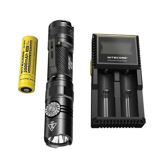 NITECORE EC22 -1000 Lumens LED Flashlight w NL1835 Battery + + + D2 Charger d75126