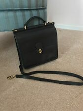Authentic Coach Vintage All Leather Willis Station Handbag 9927 BLACK  preowned