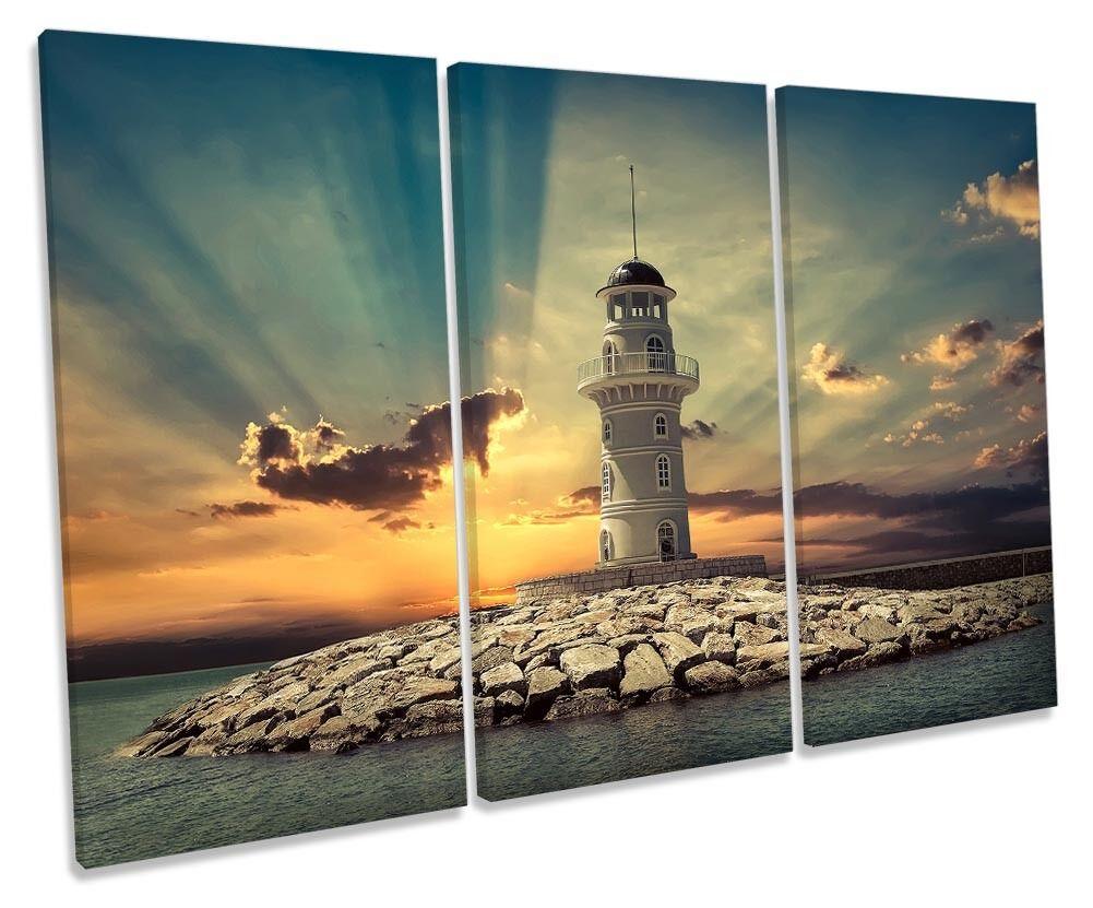 Lighthouse Sunset Seascape Framed TREBLE CANVAS Drucken Wand Kunst