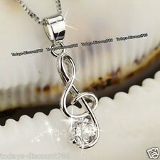 Silver Treble Clef Music Note Necklaces CZ Presents Gifts For Her Wife Mum Women