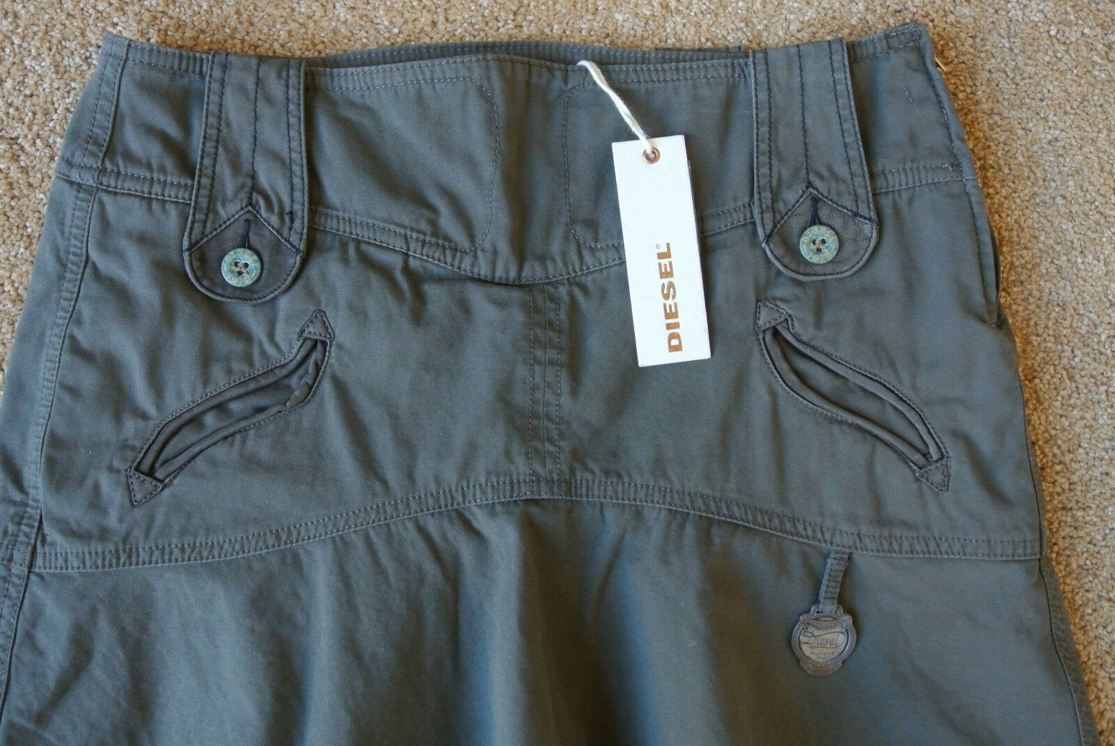 DIESEL Army Green Skirt 26 NWT 179 Super Sexy  Leather Trim  Logo Hardware