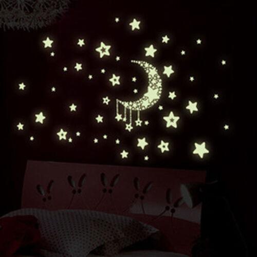 Sterne Mond Glühen in der Dunkelheit leuchtende Decke Wandaufkleber Kinder  Zd