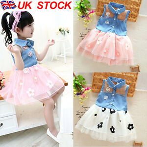 Image Is Loading Kids Baby Princess Bridesmaid Jeans Flower Girl Dresses