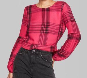 Women's Long Sleeve Tie Back Rayon Yarn Dye Plaid Top - Wild Fable™ Pink