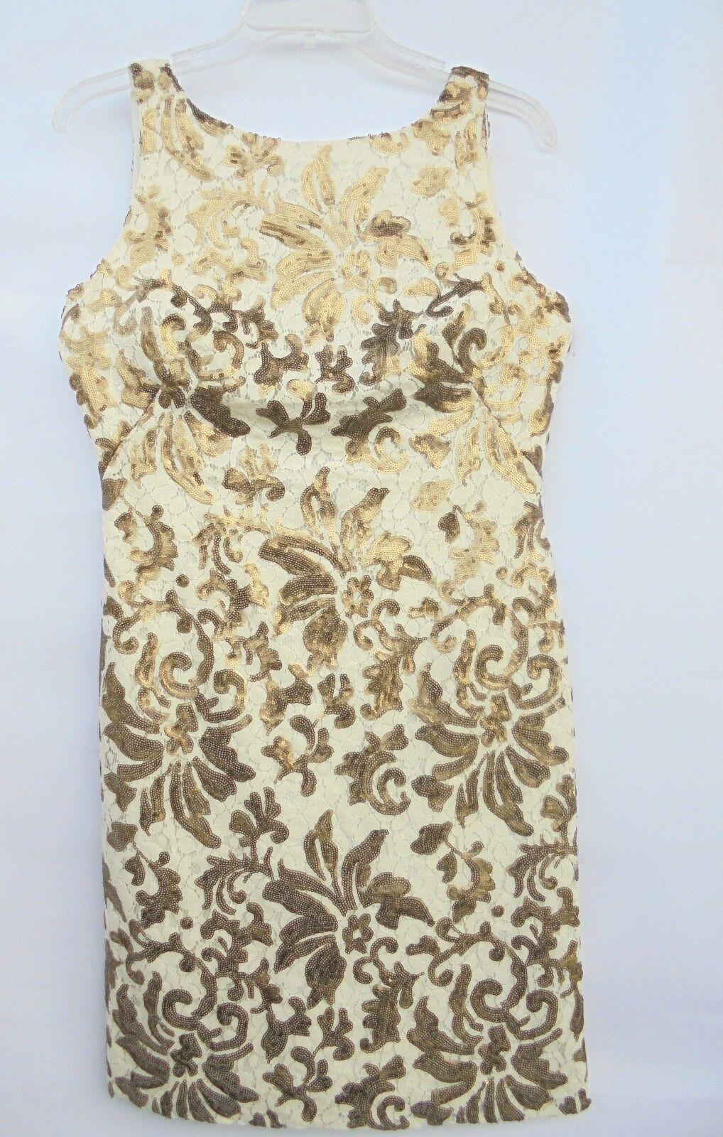 Lauren Ralph Lauren Ivory Gold Lace Sequined Sleeveless Sheath Dress sz 2 NEW