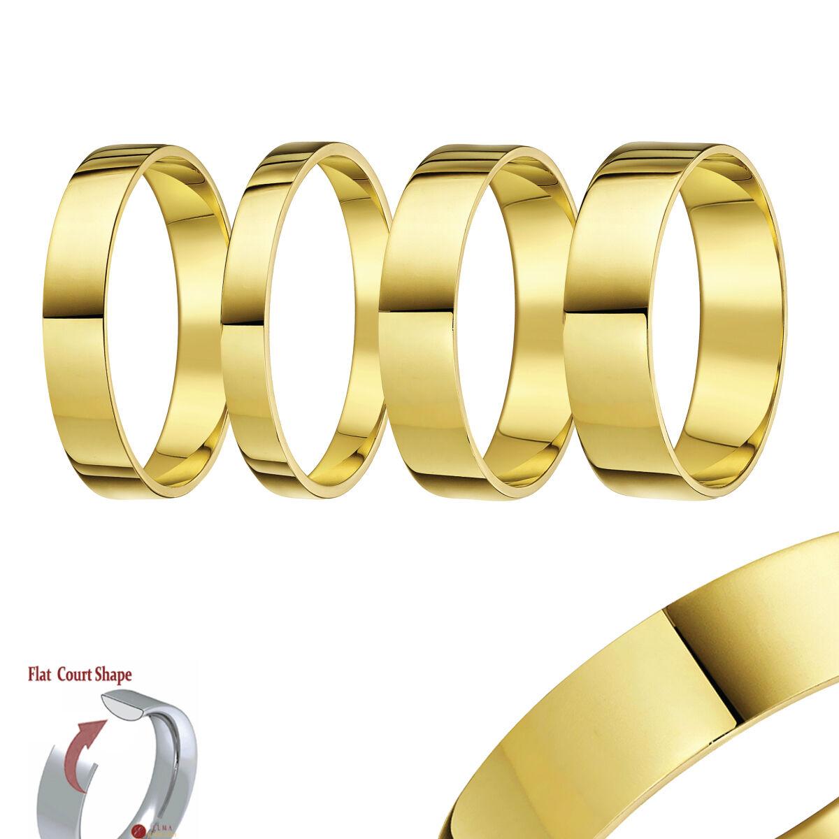 9ct yellow ANELLO gold fedina piatta a forma di anello di matrimonio