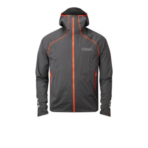 OMM Mens Kamleika Running Jacket Top Grey Sports Full Zip Hooded Waterproof