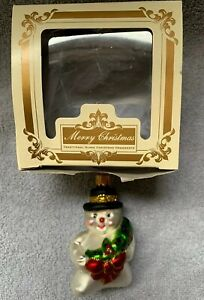 Snowman With Wreath Polish Mouth Blown Hand Painted 3 Glass Christmas Ornament Ebay