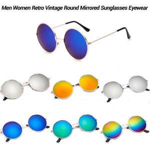 Vintage-Retro-Men-Women-Round-Mirrored-Eyewear-Metal-Frame-Sunglasses-Glasses