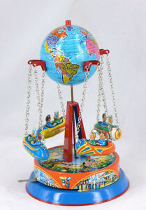 GLOBE-CAROUSEL-TIN-TOY-ROCKET-RIDE-LEVER-ACTION-GERMAN-MADE-BY-JOSEF-WAGNER