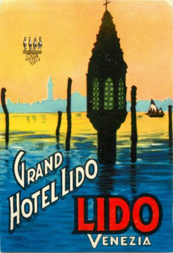 VENICE // ITALY~ Gorgeous Old Luggage Label Grand Hotel Lido ~VENEZIA c 1945