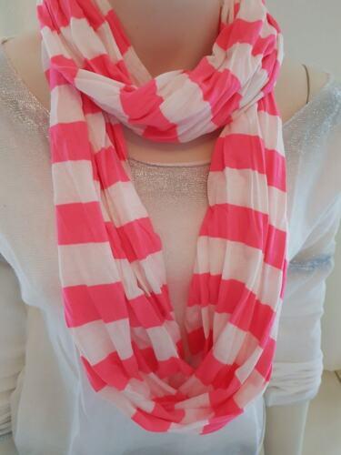 Loop Schal Tuch weiß neon pink Streifen Sommer 100/% Baumwolle 80er Party NEU!