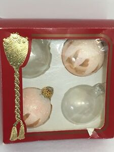 Details About Vintage Rauch Victoria Collection Christmas Ornaments Clear Rose Gold 2 5