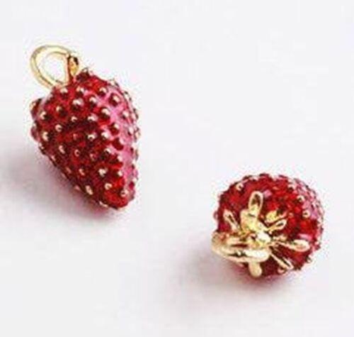 6pcs-3D enamel Strawberry charm,friut charm