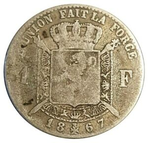 Excellent condition .900 Crown Leopold II 1867 BELGIUM 5 Franc SILVER  COIN