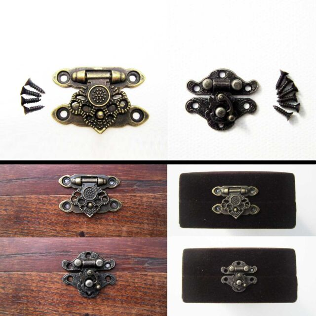 Antique Brass Decor Jewelry Gift Wooden Box Case Toggle Hasp Latch Hook Catch