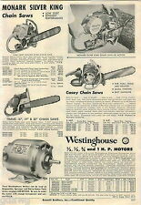 1956 ADVERT Casey Trams Monark Silver King Chain Saw